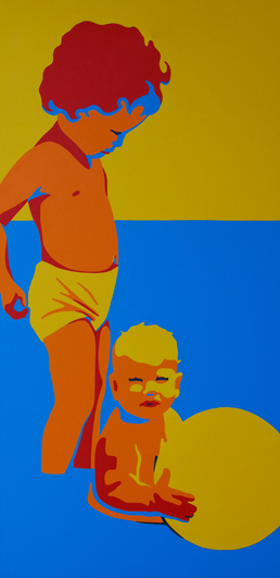 Janice And Brenda With Beach Ball 24x48 NFS
